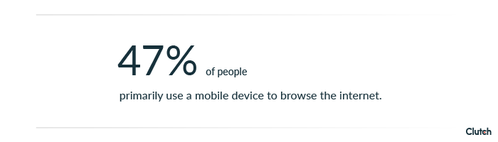 47% of people primarily use a mobile device to browse the internet