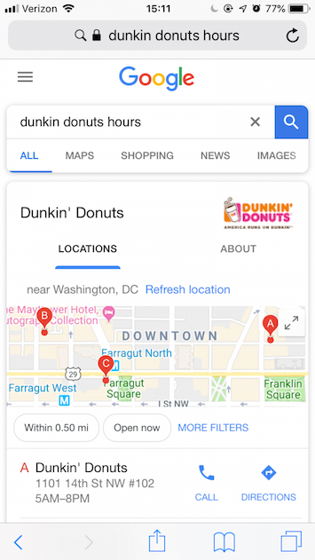 Dunkin Donuts hours mobile web browser